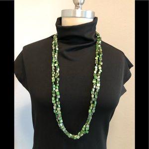 Jewelry - Green Multi Strand Art Deco Long Necklace